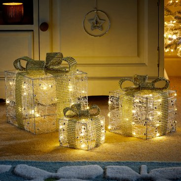 Silver Gilt Sparkly Faux Gift Boxes - Set of 3
