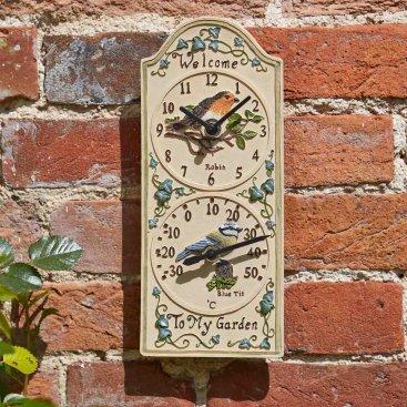 Birdberry Wall Clock & Thermometer