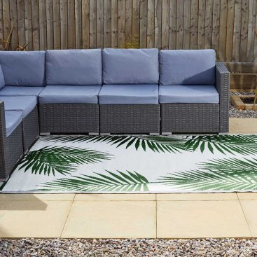 Alfresco Mats- Tropicana - Cool Grey& Palm Green, 150x210cm