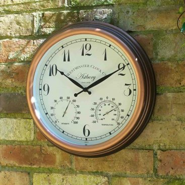 Astbury Wall Clock & Thermometer 15in
