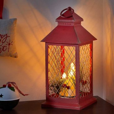 Yule Lantern, Red & Gold