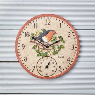 Robin Wall Clock & Thermometer 12in