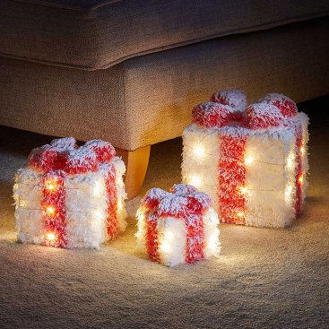 White Frosted Faux Gift Boxes - Set of 3