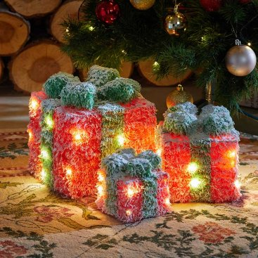 Red Frosted Faux Gift Boxes - Set of 3