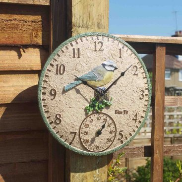 Blue Tit Wall Clock & Thermometer 12in