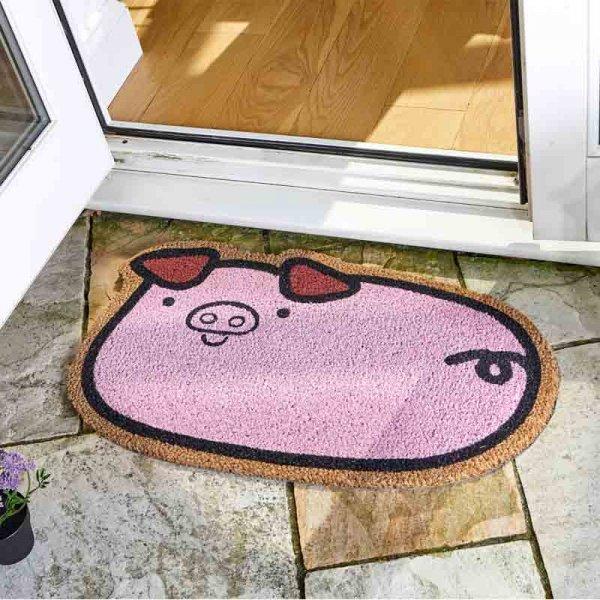 Porky Pig Coir Doormat Indoor Outdoor Pink Decoir Door Mat 75x45cm