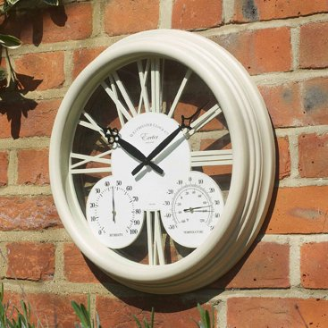 Exeter Wall Clock & Thermometer 15in - Cream