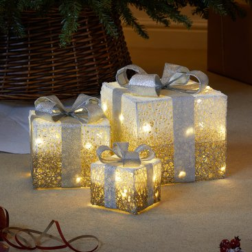Gold Sparkly Faux Gift Boxes - Set of 3