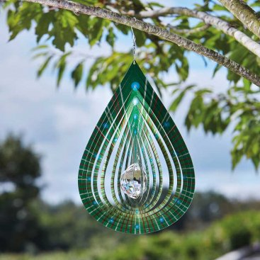 Crystal Teardrop Spinner - Lime