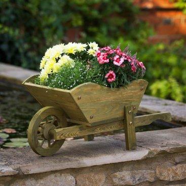 Woodland Wheelbarrow Planter - Tan, FSC 1