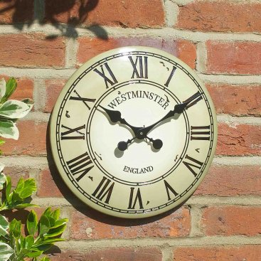 Westminster Tower Wall Clock 12in - Cream