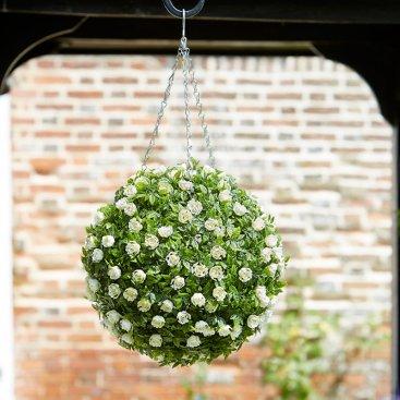 Topiary White Rose Ball 30cm