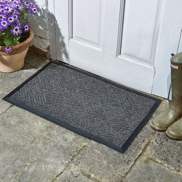 Opti-Mat Anthracite Chequered - Rubber Backed 75x45cm
