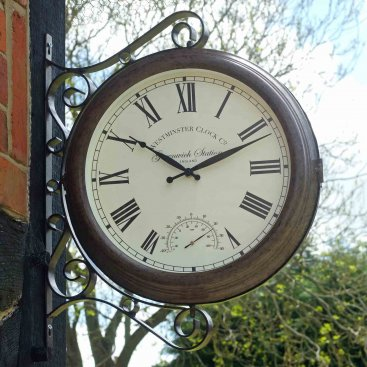 Greenwich Station Wall Clock & Thermometer 15in
