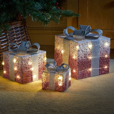 Pink Sparkly Faux Gift Boxes - Set of 3