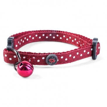 WonderLust Cat Collar - Red Polka