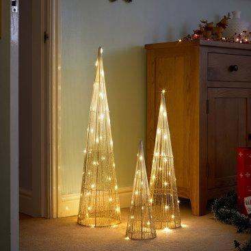 Gold Sparkly TreeBelisk - Set of 3